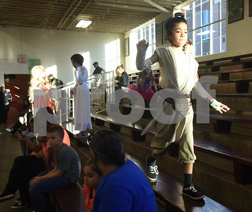 Sophie Coss, 9, wears a Star Wars Rey costume during the Sock Hop at Caldwell Elementary Arts Academy in Tyler Friday evening Oct. 21, 2016. The sock hop raised money to support the dance program which hosts a large dance showcase in the spring featuring every student in the school. Proceeds go toward costumes, building stage sets and other expenses.   (Sarah A. Miller/Tyler Morning Telegraph)