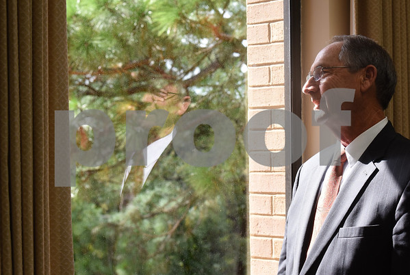 Dr. Rodney Mabry looks out of his office window at the campus. Mabry is retiring after serving 18 years as the President of the University of Texas at Tyler.   (Sarah A. Miller/Tyler Morning Telegraph)