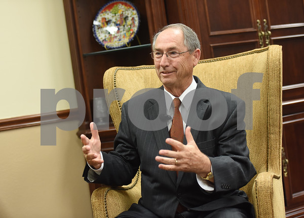 Dr. Rodney Mabry is pictured in his office Tuesday Oct. 18, 2016. Mabry is retiring after serving 18 years as the President of the University of Texas at Tyler.   (Sarah A. Miller/Tyler Morning Telegraph)