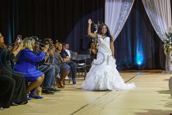 Chartaveoua Graggs makes her entrance as Miss Jarvis Christian College 2019-2020 to be crowned onstage in JCC's E. W. Rand Gymnasium.