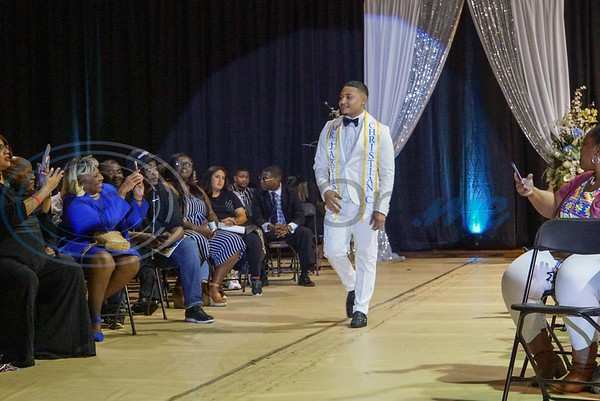 Christopher Ortiz Jr. is introduced as Mister Jarvis Christian College of 2019-2020 as he walks down the aisle to the stage for the college's coronation ceremony in JCC's E. W. Rand Gymnasium.