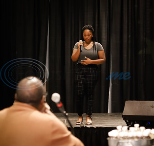 Dr. Mathew Knowles watches as Destine Eckles sings and emotional song during East Texas Got Talent at Jarvis Christian College. Sarah Perez/Freelance