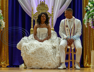 Texas College sophomore, Miss Keyara Vialpondo, awaits to be crowned at the Miss Texas College 2019 Coronation along side her escort, Texas College senior and SGA President, Stephon Smith.