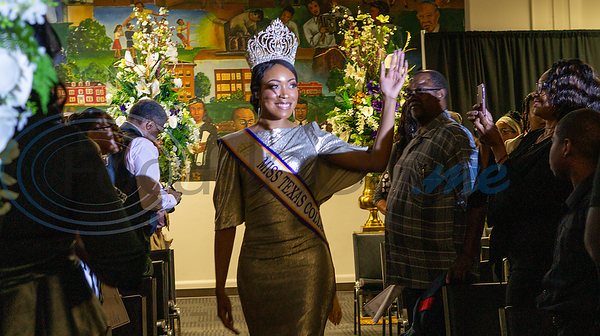 Outgoing Miss Texas College, Relicia Morrison, takes her final walk at the Miss Texas College 2019 Coronation.