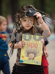 An Owens Elementary School student dresses as a porcupine during the storybook character parade at the school on Halloween Tuesday Oct. 31, 2017.  (Sarah A. Miller/Tyler Morning Telegraph)