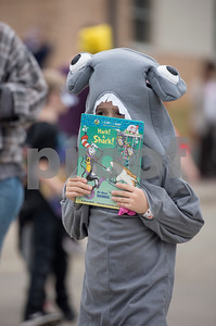An Owens Elementary School student dresses as a shark during the storybook character parade at the school on Halloween Tuesday Oct. 31, 2017.  (Sarah A. Miller/Tyler Morning Telegraph)