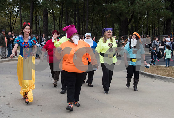 Owens Elementary School faculty and staff members dress as Snow White and the Seven Dwarves during the student storybook character parade at the school on Halloween Tuesday Oct. 31, 2017.  (Sarah A. Miller/Tyler Morning Telegraph)