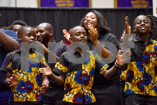The Texas College Concert Choir and The Parental Care Ministries Uganda Choir perform during Texas College Homecoming Week at Gus F. Taylor Auditorium at Texas College in Tyler, Texas, on Wednesday, Oct. 4, 2017. The choir is currently on a six-week tour throughout the United States. (Chelsea Purgahn/Tyler Morning Telegraph)