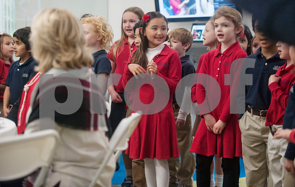 Lower school students sing during the All Saints Episcopal School donor luncheon held at the school on Wednesday Jan. 10, 2018.  (Sarah A. Miller/Tyler Morning Telegraph)