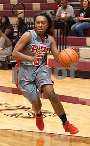 Robert E. Lee's (3) Miyah Pettigrew dribbles to the basket Tuesday night at Whitehouse High School during the girls basketball season opener.  (Sarah A. Miller/Tyler Morning Telegraph)