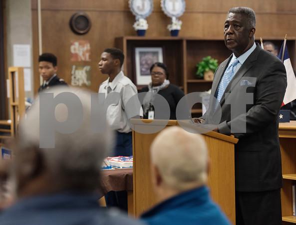 Veteran Arthur Graves speaks during the first ever Veterans Day breakfast event held at John Tyler High School by the Lion Battalion JROTC Friday Nov. 10, 2017.  (Sarah A. Miller/Tyler Morning Telegraph)