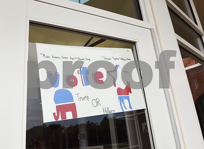 A sign on the front door of the school announces the mock election to help students learn about the process at The Brook Hill Lower School in Bullard Tuesday Nov. 1, 2016.  (Sarah A. Miller/Tyler Morning Telegraph)