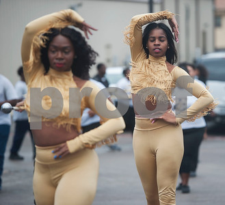 Texas College Golden Girls dance team members perform  in a ceremony on campus in celebration of Martin Luther King Jr. on Thursday Jan. 11, 2018 in Tyler. The ceremony advances Martin Luther King Day, a federal holiday that is held on the third Monday of January each year.  Texas College is an accredited historically black four-year college located in Tyler.  (Sarah A. Miller/Tyler Morning Telegraph)