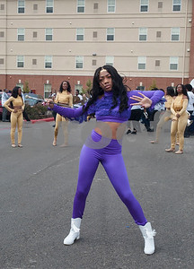 A dancer with the Texas College marching band performs at a ceremony on campus in celebration of Martin Luther King Jr. on Thursday Jan. 11, 2018 in Tyler. The ceremony advances Martin Luther King Day, a federal holiday that is held on the third Monday of January each year.  Texas College is an accredited historically black four-year college located in Tyler.  (Sarah A. Miller/Tyler Morning Telegraph)