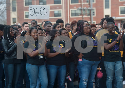 Students from Texas College, an accredited historically black four-year college located in Tyler, attend a ceremony on campus in celebration of Martin Luther King Jr. on Thursday Jan. 11, 2018. The ceremony advances Martin Luther King Day, a federal holiday that is held on the third Monday of January each year.  (Sarah A. Miller/Tyler Morning Telegraph)
