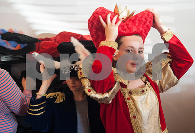 Mary Hopson, 10, tries on her Queen of Hearts costume for the play Alice in Wonderland Jr. at Caldwell Elementary in Tyler Oct. 29, 2016. Caldwell Fine Arts Academy is presenting Alice in Wonderland Jr. Thursday Nov. 17 at  10 a.m. and 6 p.m. and Friday Nov. 18 at 1 p.m. and 6 p.m. at Caldwell Auditorium.  (Sarah A. Miller/Tyler Morning Telegraph)