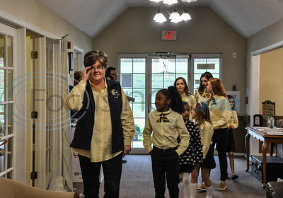 """Members of the Jacksonville ISD Student Ambassador Team take a tour of Angelina House in Jacksonville, lead by Jacksonville ISD Public Relations Director Grace Traylor, as part of their """"Listen & Learn"""" lunch with house residents. The lunch took place on Thursday, November 8 and consisted of 21 students grades 3 through 12. (Jessica T. Payne/Tyler Morning Telegraph)"""