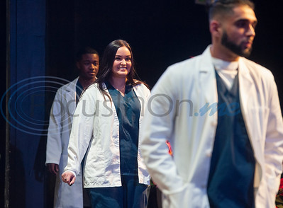 Tyler Junior College nursing student Morgan Thomas, center, smiles as she practices walking in the procession for the Vocational Nursing pinning ceremony at Wise Auditorium on Wednesday Dec. 12, 2018.   (Sarah A. Miller/Tyler Morning Telegraph)