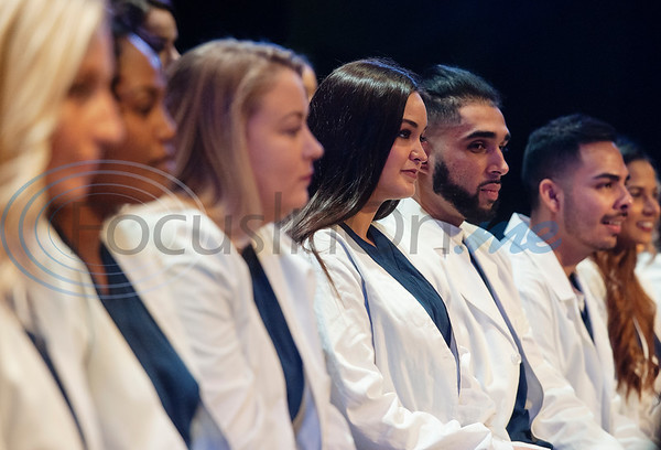 Tyler Junior College nursing student Morgan Thomas, center, participates in the rehearsal for the Vocational Nursing pinning ceremony at Wise Auditorium on Wednesday Dec. 12, 2018.   (Sarah A. Miller/Tyler Morning Telegraph)