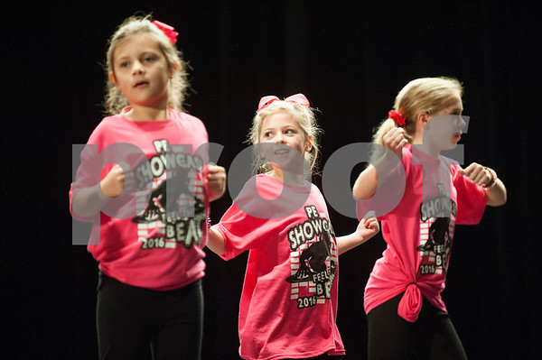 Students from Andy Woods Elementary School students dance during the Tyler ISD Physical Education Showcase held at Caldwell Auditorium Tuesday Jan. 26, 2016.  (Sarah A. Miller/Tyler Morning Telegraph)