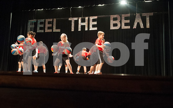 Students from Caldwell Elementary School perform a basketball routine during the Tyler ISD Physical Education Showcase held at Caldwell Auditorium Tuesday Jan. 26, 2016.  (Sarah A. Miller/Tyler Morning Telegraph)