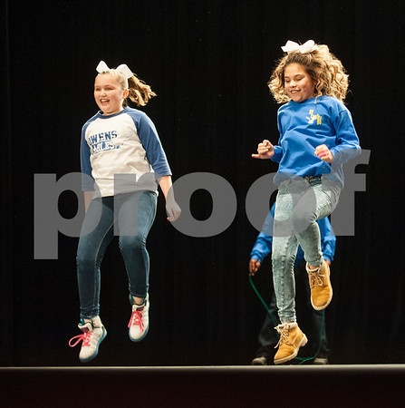 """Two Owens Elementary School students dance to Kesha's song """"Timber"""" during the Tyler ISD Physical Education Showcase held at Caldwell Auditorium Tuesday Jan. 26, 2016.  (Sarah A. Miller/Tyler Morning Telegraph)"""