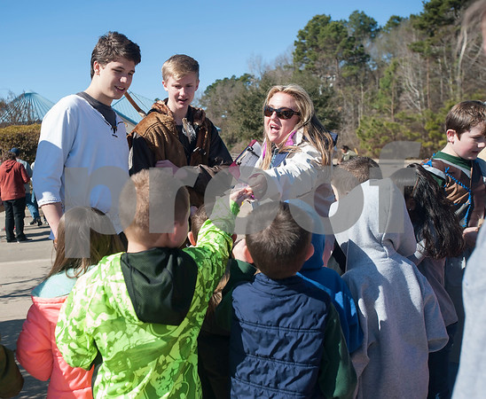 UT Tyler Innovation Academy sophomores Reid Banta and Peyton Lamb greet teacher Leanne Lewis and her kindergarten class at the Renaissance Faire, an event held by UT Tyler Innovation Academy  students to showcase display booths and activities from the medieval period on Tuesday Jan. 30, 2018.  The older students taught the younger students using foundational arts and crafts from the medieval period that have evolved into the Science, Technology, Engineering, and Math (STEM).    (Sarah A. Miller/Tyler Morning Telegraph)