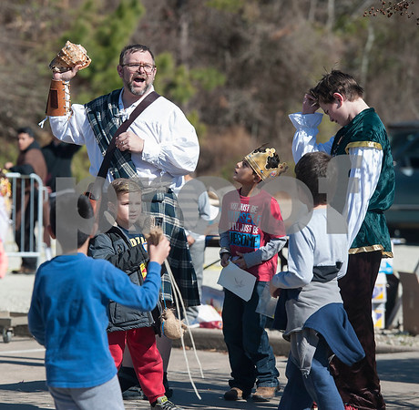 UT Tyler Innovation Academy teacher Michael Vogt gathers students for a treasure hunt during their Renaissance Faire on Tuesday Jan. 30, 2018. The older students taught the younger students using foundational arts and crafts from the medieval period that have evolved into the Science, Technology, Engineering, and Math (STEM).    (Sarah A. Miller/Tyler Morning Telegraph)