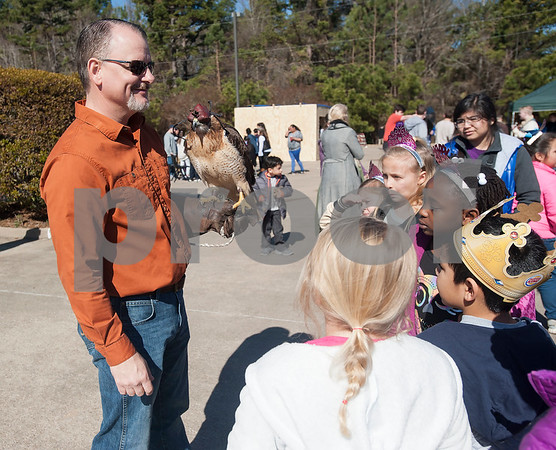 University of Texas at Tyler professor Dennis Hurley shows a red tailed hawk to students at the UT Tyler Innovation Academy during their Renaissance Faire on Tuesday Jan. 30, 2018. The older students taught the younger students using foundational arts and crafts from the medieval period that have evolved into the Science, Technology, Engineering, and Math (STEM).    (Sarah A. Miller/Tyler Morning Telegraph)
