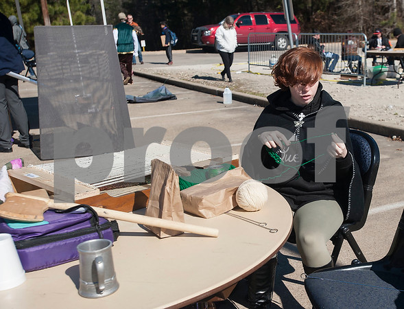 UT Tyler Innovation Academy junior Rebekkah Garcia demonstrates weaving during their Renaissance Faire on Tuesday Jan. 30, 2018. The older students taught the younger students using foundational arts and crafts from the medieval period that have evolved into the Science, Technology, Engineering, and Math (STEM).    (Sarah A. Miller/Tyler Morning Telegraph)