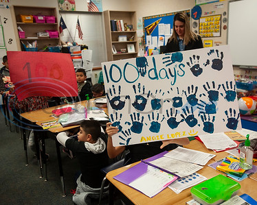 Griffin Elementary School first graders made posters to celebrate the 100th day of school on Wednesday Jan. 30, 2019.  (Sarah A. Miller/Tyler Morning Telegraph)
