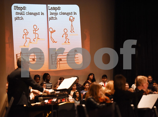 Students learn about musical concepts as the East Texas Symphony Orchestra performs during an event with Tyler ISD fourth and fifth graders called The Orchestra Sings Tuesday Jan. 31, 2017 at Caldwell Auditorium.  (Sarah A. Miller/Tyler Morning Telegraph)