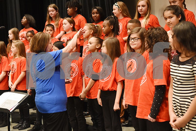 Students from Rice Elementary School sing with the East Texas Symphony Orchestra during an event with Tyler ISD fourth and fifth graders called The Orchestra Sings Tuesday Jan. 31, 2017 at Caldwell Auditorium.  (Sarah A. Miller/Tyler Morning Telegraph)