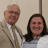 Rod Lewin (left) presents Bethany Sefakis of Oakmont Regional with the Roderick & Donna Lewin Scholarship at the North Central Mass Chamber of Commerce Scholarship Breakfast at the Doubletree in Leominster. SENTINEL & ENTERPRISE / Jim Marabello