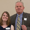 Shale Carey of Oakmont Regional HS is presented with the Ronald Ansin Scholarship at the North Central Mass Chamber of Commerce Scholarship Breakfast at the Doubletree in Leominster. SENTINEL & ENTERPRISE / Jim Marabello