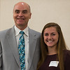 Doug Petersen (left) presents Natalie Proctor  with the David L. McKeehan Scholarship at the North Central Mass Chamber of Commerce Scholarship Breakfast at the Doubletree in Leominster. SENTINEL & ENTERPRISE / Jim Marabello