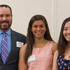 Todd Wood (left) presents Stephanie Palis (center) of Nashiba Regional and Thu Nguyen of Fitchburg HS with Chamber Golf Tournament Scholarships at the North Central Mass Chamber of Commerce Scholarship Breakfast at the Doubletree in Leominster. SENTINEL & ENTERPRISE / Jim Marabello