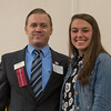 Tim Johnson (left) presents Elena Arciprete of Lunenburg HS with the Benjamin Asher Scholarship at the North Central Mass Chamber of Commerce Scholarship Breakfast at the Doubletree in Leominster. SENTINEL & ENTERPRISE / Jim Marabello