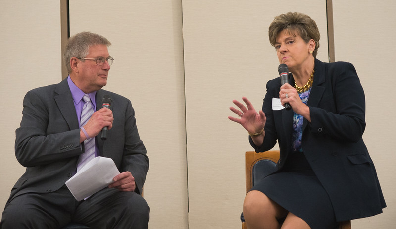 Deborah Weymouth, President and CEO of Health Alliance speaks with host Scott May of FATV during the North Central Mass Chamber of Commerce Scholarship Breakfast at the Doubletree in Leominster. SENTINEL & ENTERPRISE / Jim Marabello