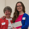 Jean Storrs (left) presents Chloe Adler-Mandile of Nashoba Valley Tech with the Barbara Silva Scholarship at the North Central Mass Chamber of Commerce Scholarship Breakfast at the Doubletree in Leominster. SENTINEL & ENTERPRISE / Jim Marabello