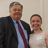 Judge Andre Gelinas (left) presents Elizabeth Moison with the George R & Alice G Wallace Scholarship at the North Central Mass Chamber of Commerce Scholarship Breakfast at the Doubletree in Leominster. SENTINEL & ENTERPRISE / Jim Marabello