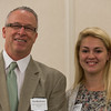 Paul MacKinnon (left) presents Lauren Basque of Monty Tech with the Health Alliance Hospital Scholarship at the North Central Mass Chamber of Commerce Scholarship Breakfast at the Doubletree in Leominster. SENTINEL & ENTERPRISE / Jim Marabello