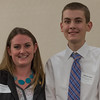Victoria Nee (left) presents Patrick Casey of Leominster HS with the Enterprise Bank & Trust Scholarship at the North Central Mass Chamber of Commerce Scholarship Breakfast at the Doubletree in Leominster. SENTINEL & ENTERPRISE / Jim Marabello