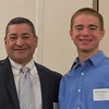 Tony Mercadante (left) presents David Fitzpatrick of Groton-Dunstable Regional HS with a Chamber Foundation Scholarship at the North Central Mass Chamber of Commerce Scholarship Breakfast at the Doubletree in Leominster. SENTINEL & ENTERPRISE / Jim Marabello