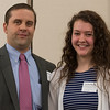 John Bronhard (left) presents Jennifer Mueller of Leominster HS with the Health Alliance Hospital Scholarship at the North Central Mass Chamber of Commerce Scholarship Breakfast at the Doubletree in Leominster. SENTINEL & ENTERPRISE / Jim Marabello