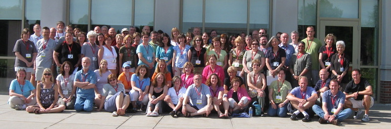 Did ever a more professional yet fun-loving group of readers assemble to grade more than 4500 AP German exams? The perfect combination of gifted high-school and university faculty finished the task in near-record time. Here they are after final de-briefing on Thursday morning, outside Kaufman Building, June 18th, 2009.   Where's Waldo?   Last row, second from left.