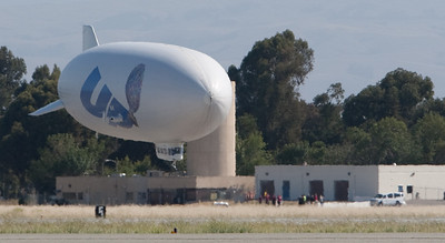 The Airship Ventures' Zeppelin airship Eureka.  The engines can be rotated to provide effective thrust for landing.