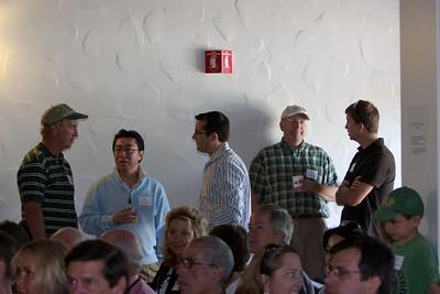 Gathering inside for presentations.