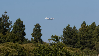 The airship is visible approaching Moffett Field.