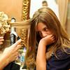 Joanne getting Morgan's hair ready